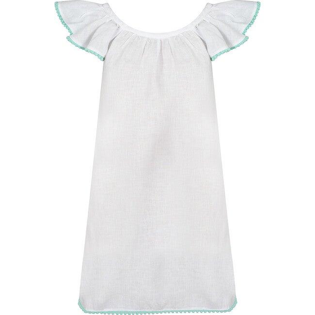 Linen Pom Pom Dress, White