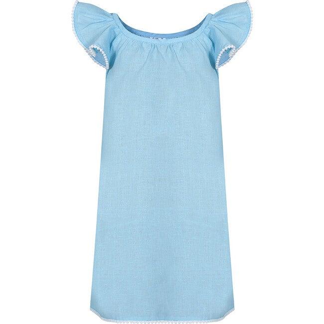 Linen Pom Pom Dress, Aqua