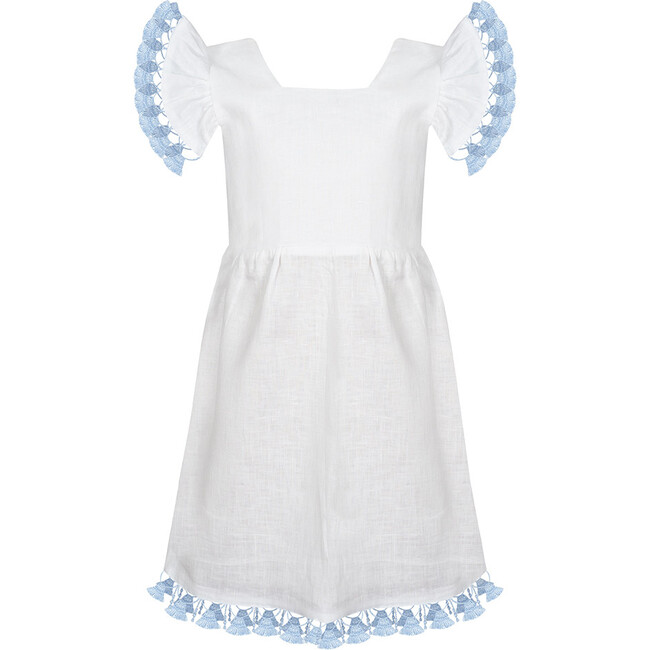 Linen Tassle Dress, White