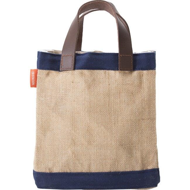 Mini Jute Market Bag, Navy