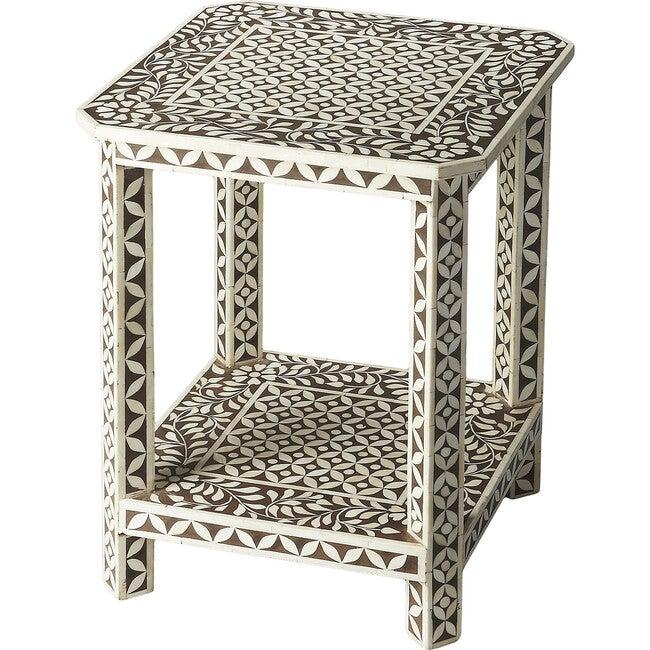 Amelia Bone Inlay Side Table, Brown