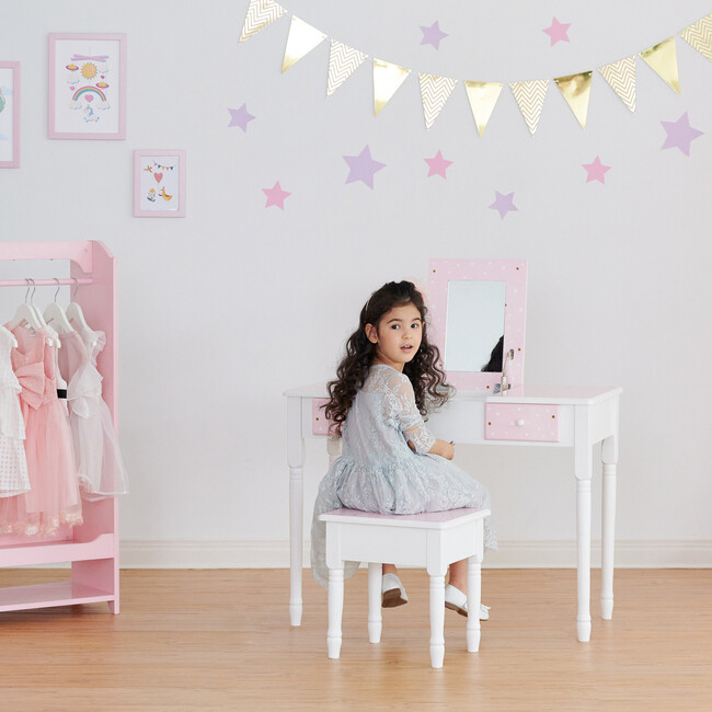 Kate Twinkle Star Vanity Set with Foldable Mirror and Chair, Pink/White
