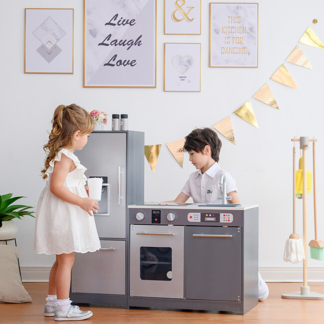 Little Chef Milano Classic Kids Kitchen Playset with 10 Accessories, Grey