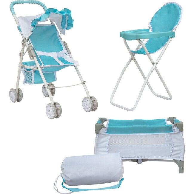 3-in-1 Baby Doll Nursery Set, Blue/White - Dolls - 1
