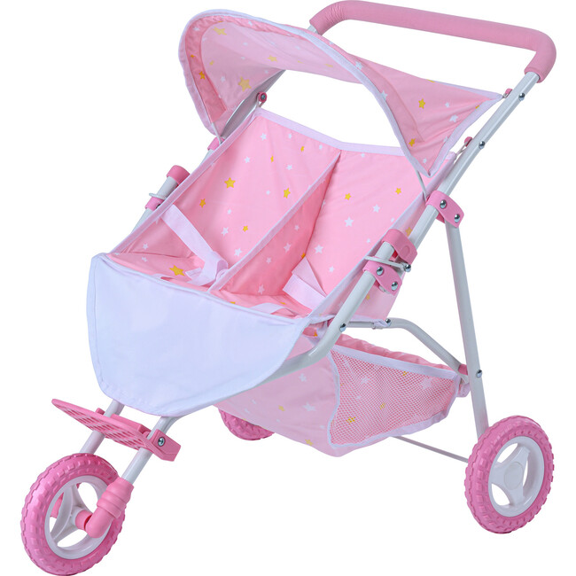 Stars Princess Deluxe Baby Doll Stroller, Pink/White - Dolls - 1