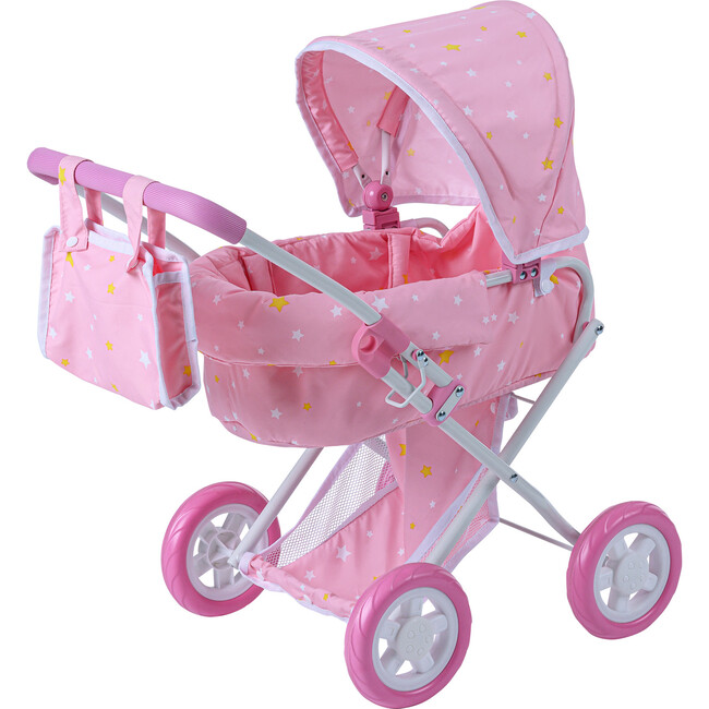 Stars Princess Deluxe Baby Doll Stroller, Pink/White
