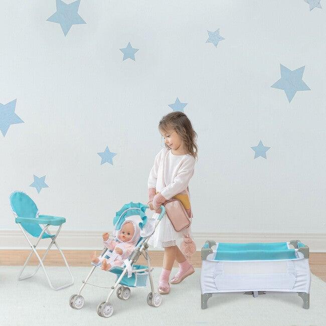 3-in-1 Baby Doll Nursery Set, Blue/White