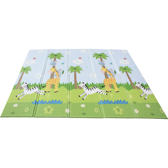 Safari Animal and Garden Insects Baby Crawling Play Mat, Blue/White - Developmental Toys - 1