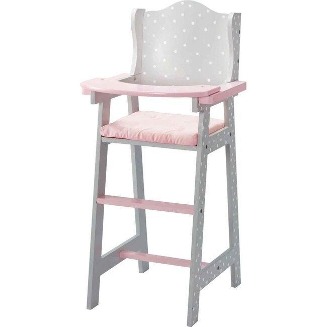 Polka Dots Princess Baby Doll High Chair, Grey - Dolls - 1