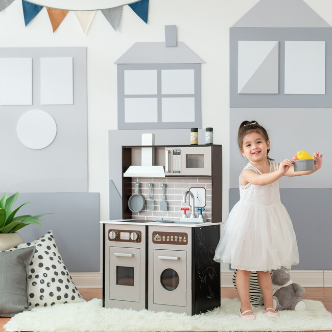 Little Chef Burgundy Classic Play Kitchen, Expresso/Black