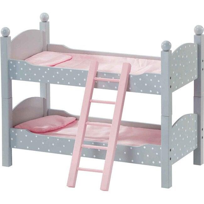 """Polka Dots Princess 18"""" Doll Double Bunk Bed, Grey - Dolls - 1"""