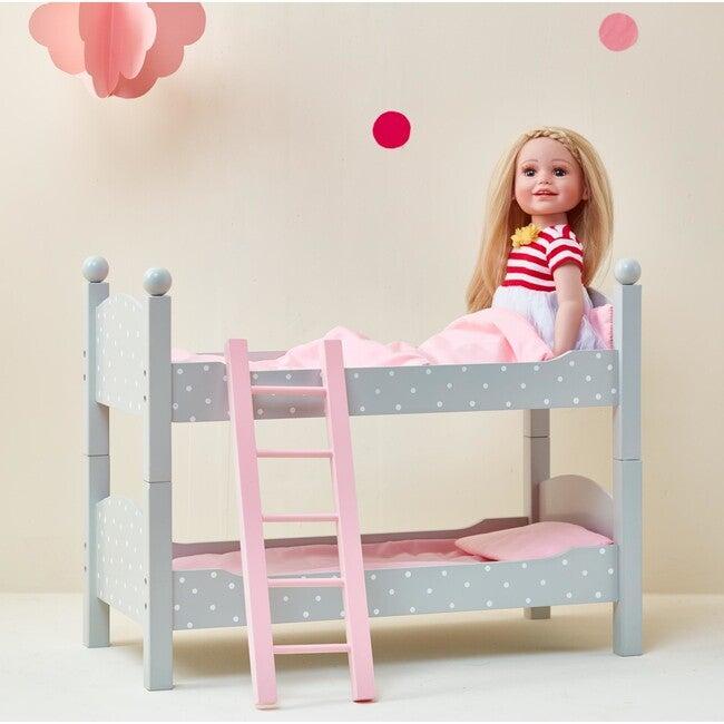 """Polka Dots Princess 18"""" Doll Double Bunk Bed, Grey"""