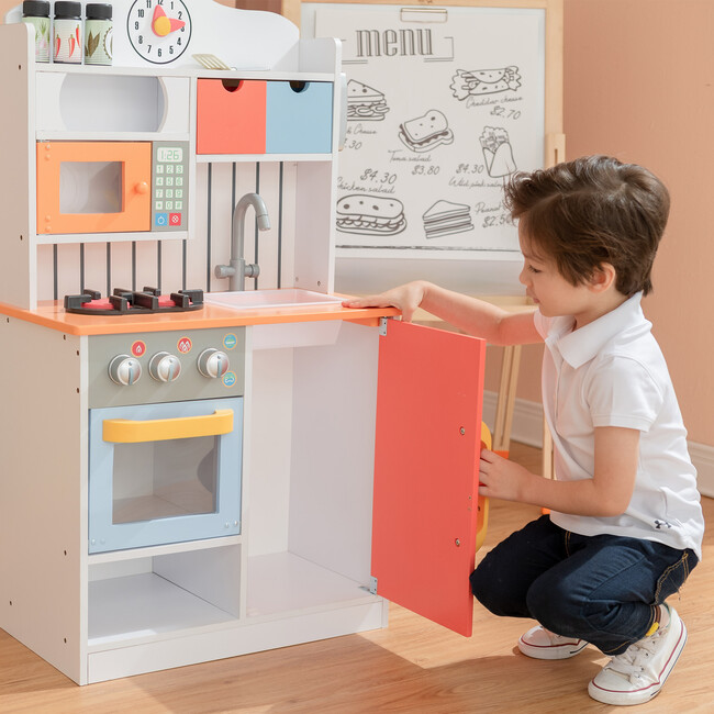 Little Chef Florence Classic Play Kitchen, Coral Red/Twilight