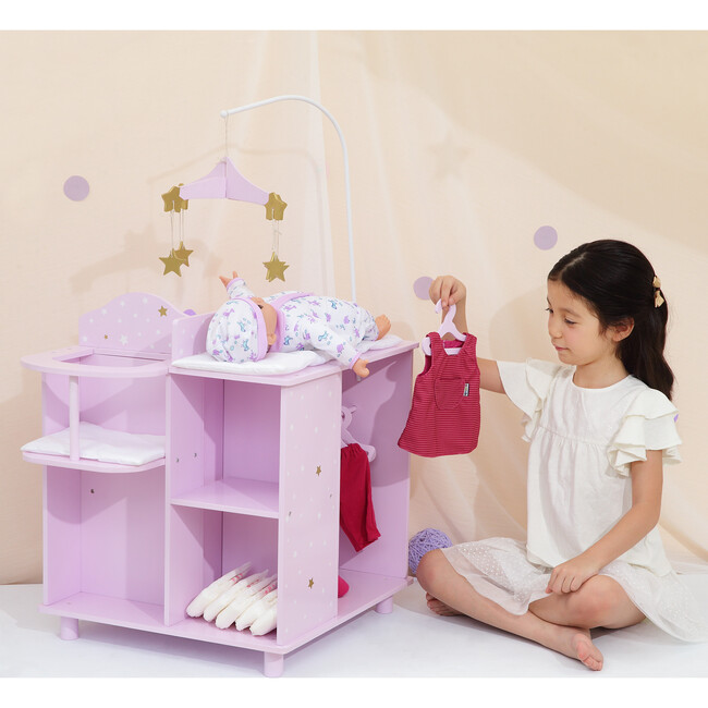 Twinkle Stars Princess Baby Doll Changing Station with Storage, Purple