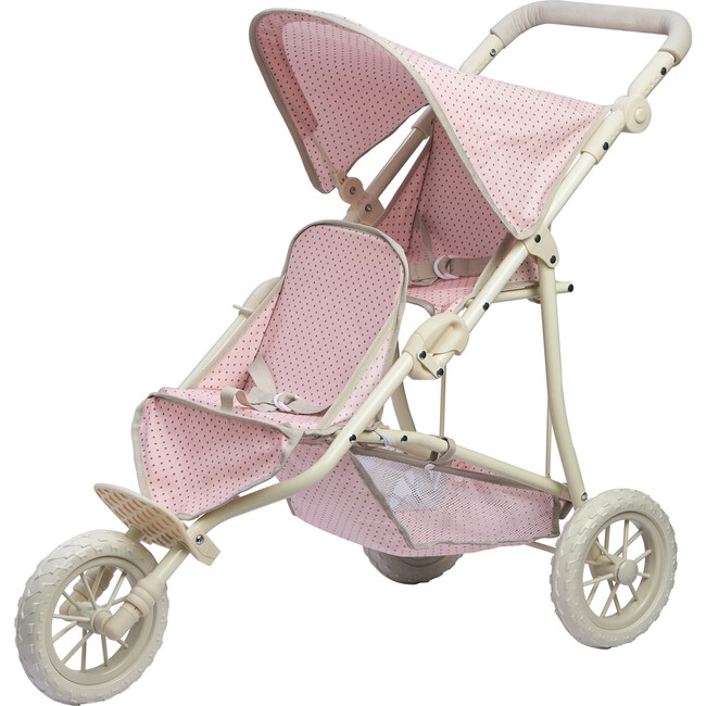 Polka Dots Princess Baby Doll Twin Jogging Stroller, Pink & Grey - Dolls - 1