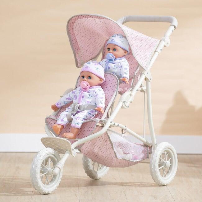 Polka Dots Princess Baby Doll Twin Jogging Stroller, Pink & Grey