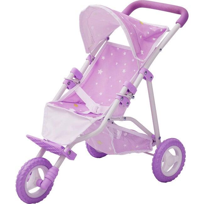 Baby Doll Jogging Stroller, Purple/Stars - Dolls - 1