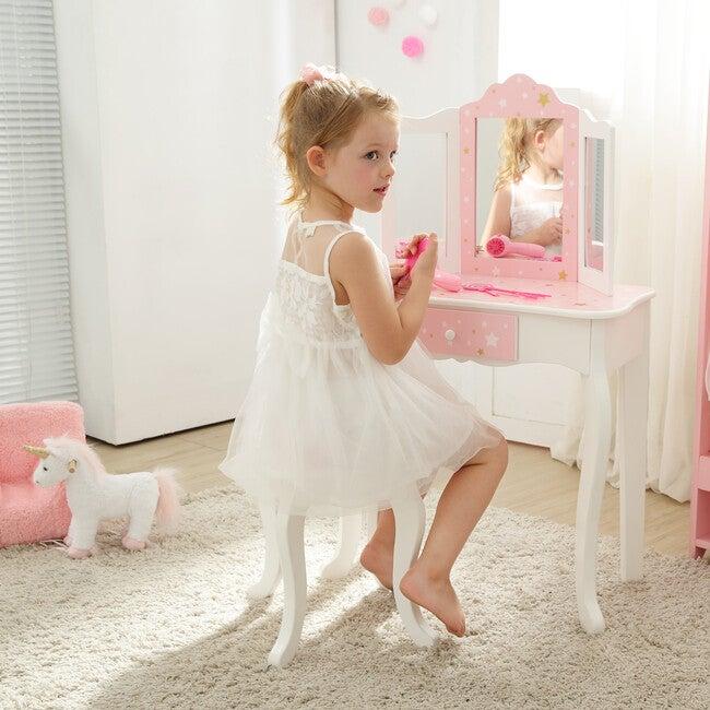 Twinkle Star Prints Play Vanity Set, Pink/White