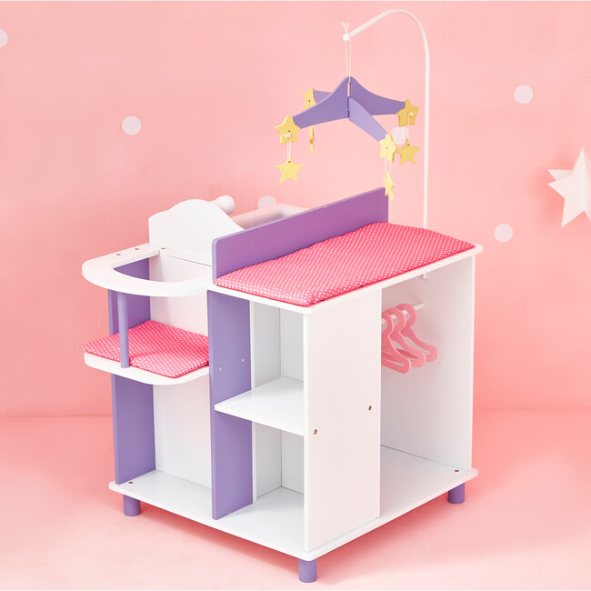 Little Princess Baby Doll Changing Station with Storage, White