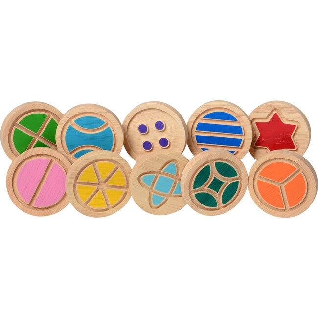 Wooden Tactile Discs, Multicolor