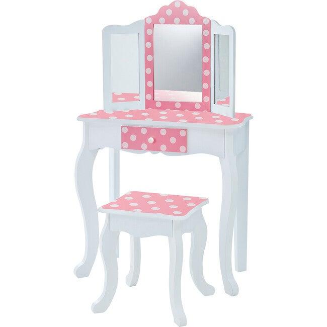 Polka Dot Prints Play Vanity Set, Pink/White