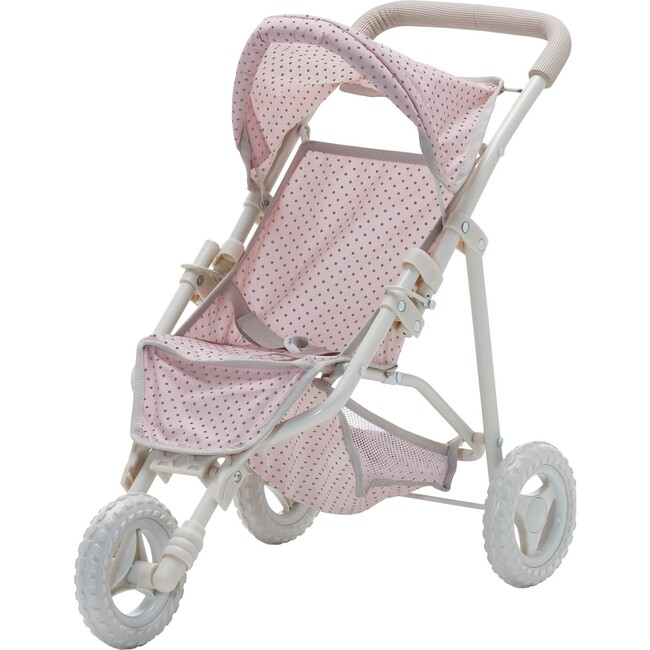 Polka Dots Princess Baby Doll Jogging Stroller, Pink & Grey - Dolls - 1
