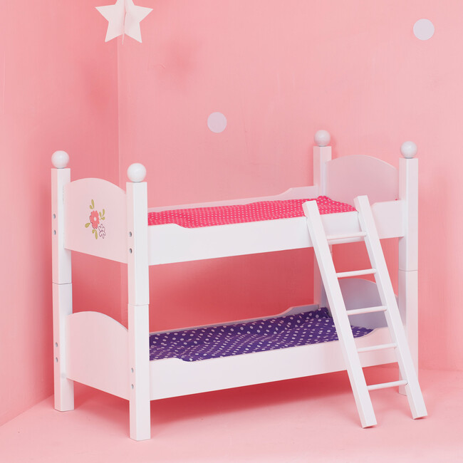 """Little Princess 18"""" Doll Double Bunk Bed, White"""