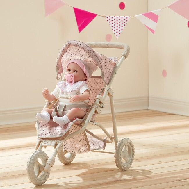 Polka Dots Princess Baby Doll Jogging Stroller, Pink & Grey