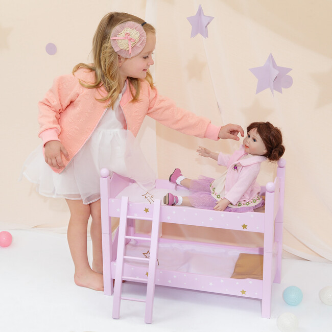 """Twinkle Stars Princess 18"""" Doll Double Bunk Bed, Purple"""
