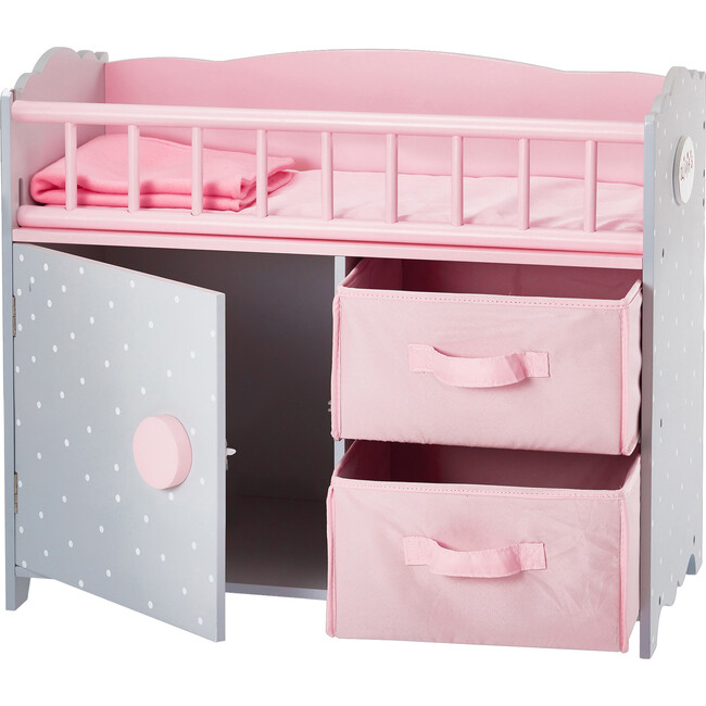 Polka Dots Princess Baby Doll Crib with Cabinet and Cubby