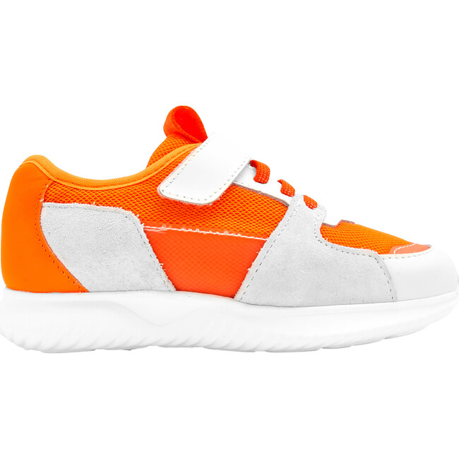 Running Style Sneakers, White & Orange