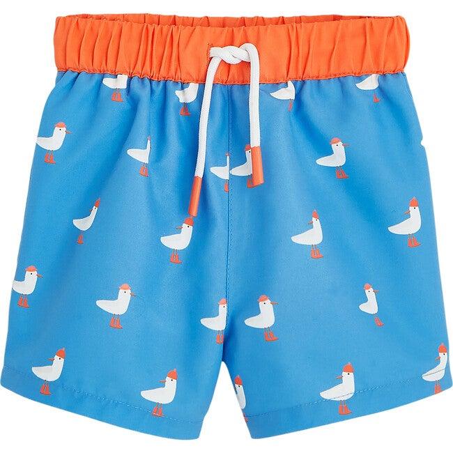 Toddler Seagulls Swim Shorts, Aqua Blue