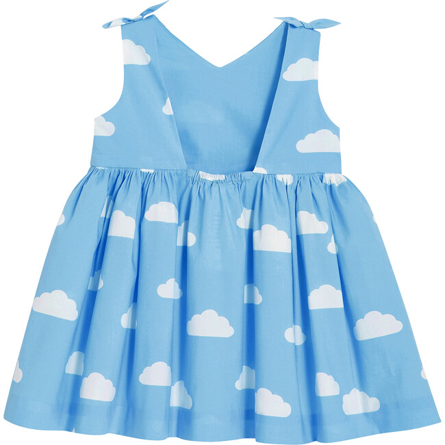 Cloud Motif Toddler Dress, Blue & White