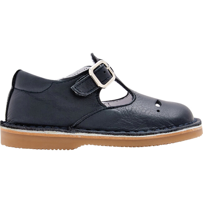 Smooth Leather T-Strap Shoes, Navy Blue