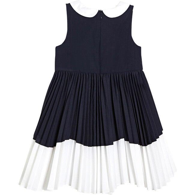 Formal Dress, White & Navy Blue