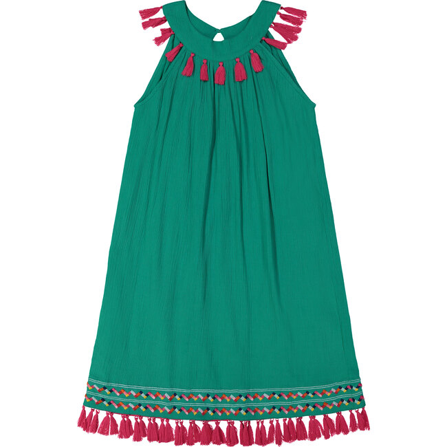 Katrina Women's Ring Collar Shift Dress, Emerald