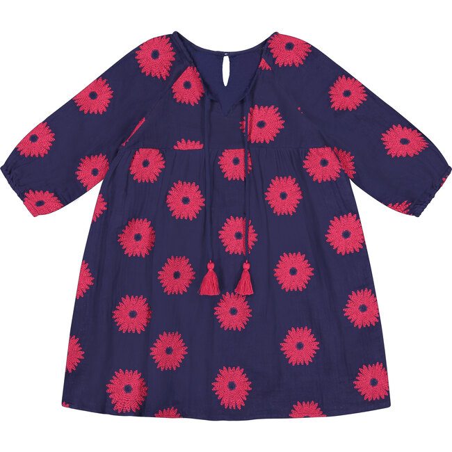 *Exclusive* Sara Girls Tunic Dress, Navy Scarlet Embroidery