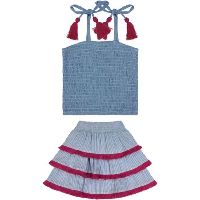 Louisa Smocked Top & Fringed Skirt Set, Azure Blue