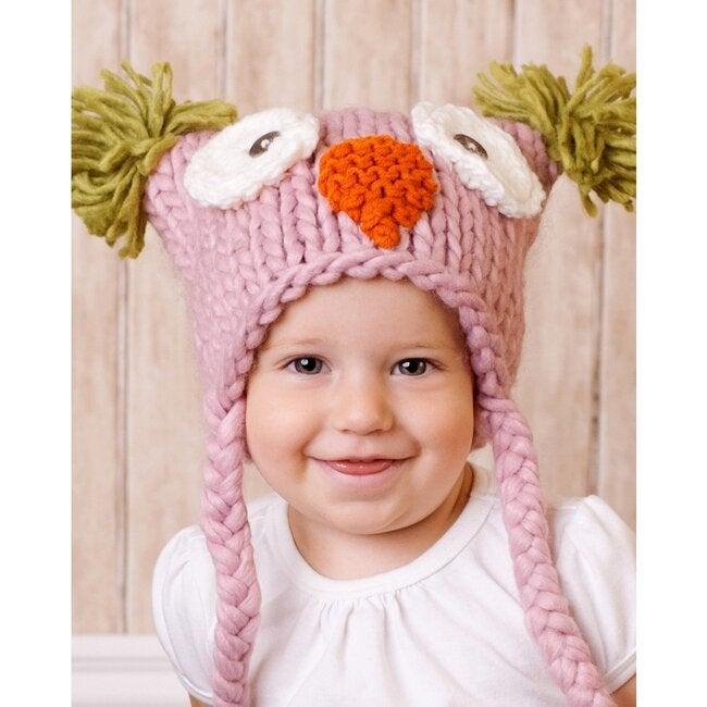 Otis Owl Knit Hat, Pink