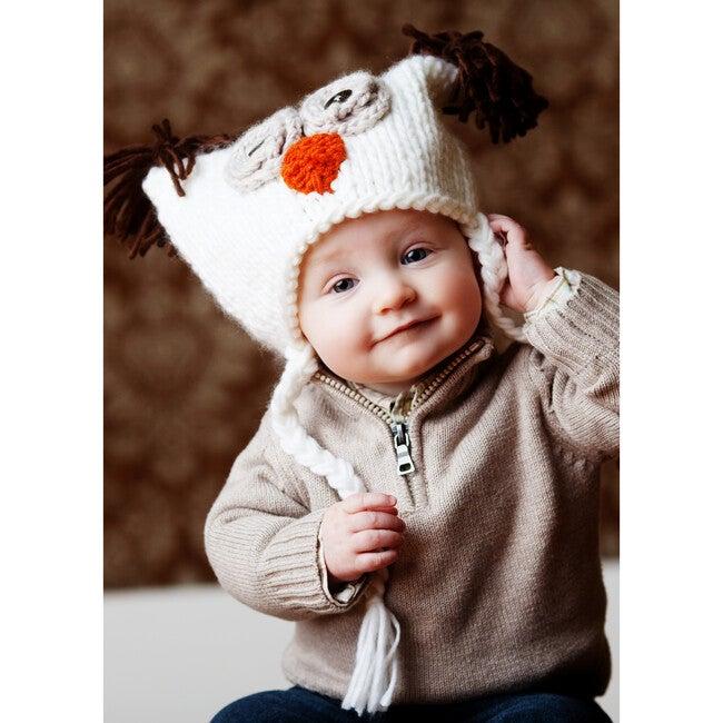Otis Owl Knit Hat, White
