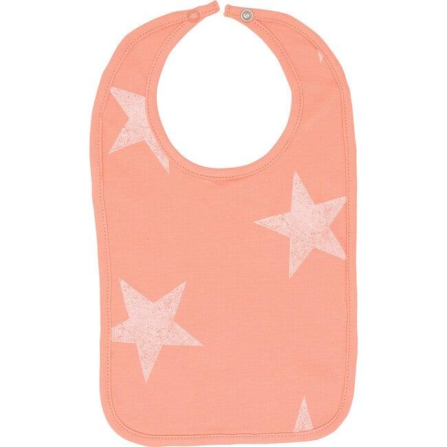 Peach Fabric White Wash Star Bib