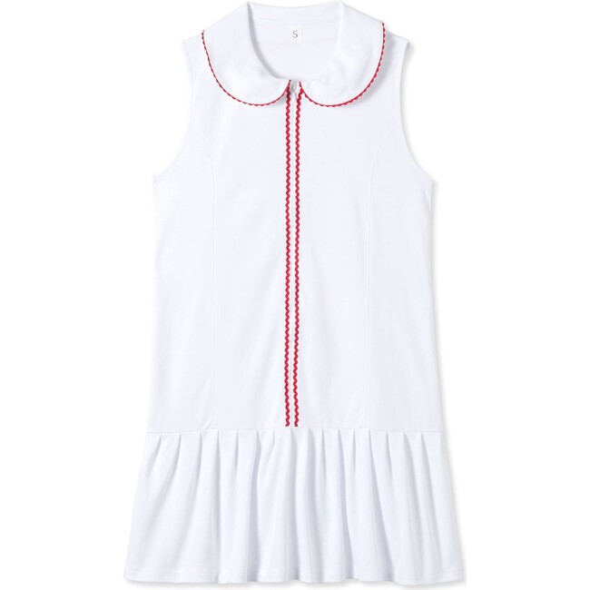 Women's Vivian Tennis Dress, Bright White with Red