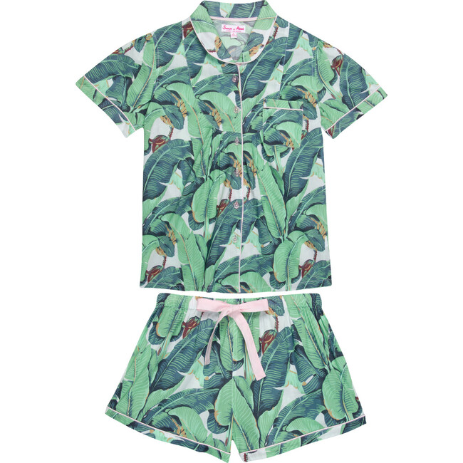 Women's Short Sleeve & Boxer Set, Martinique Banana Leaf
