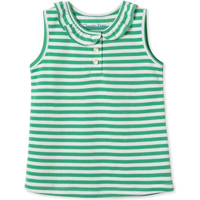 Zoe Sleeveless Polo Shirt, Blarney and Bright White