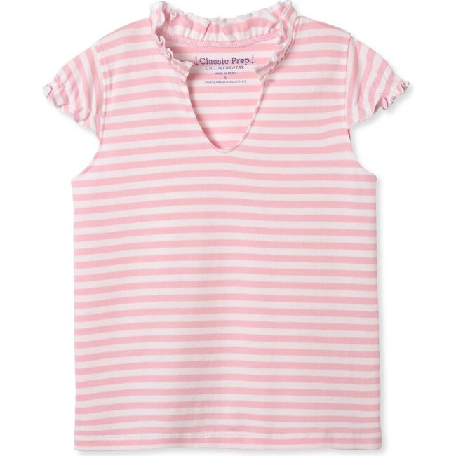 Molly Ruffle Tee, Lilly's Pink and Bright White