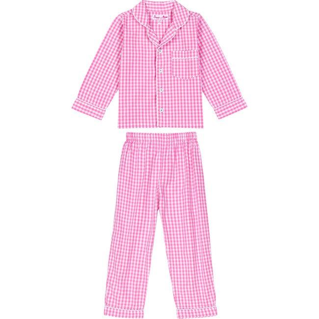 Girls Long Sleeve & Pant Set, Gingham Pink