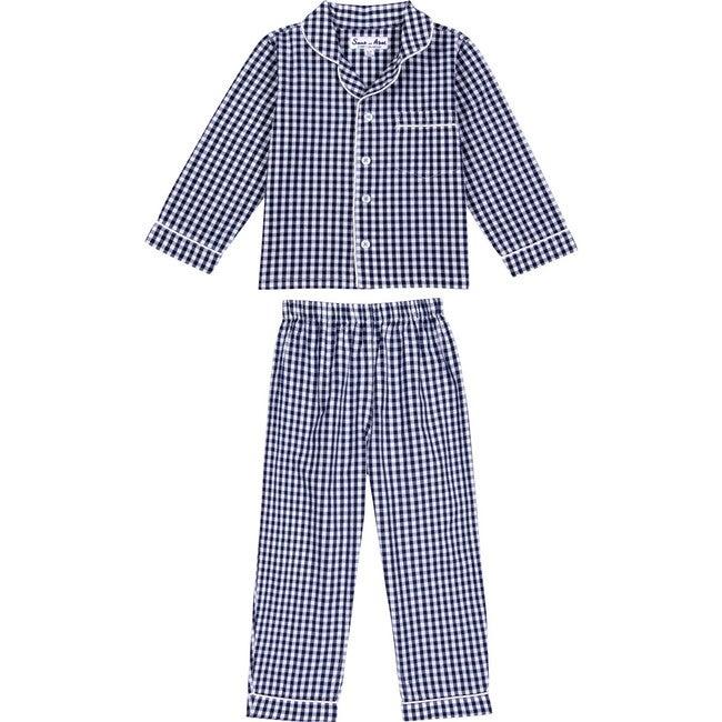 Boys Long Sleeve & Pant Set, Gingham Blue