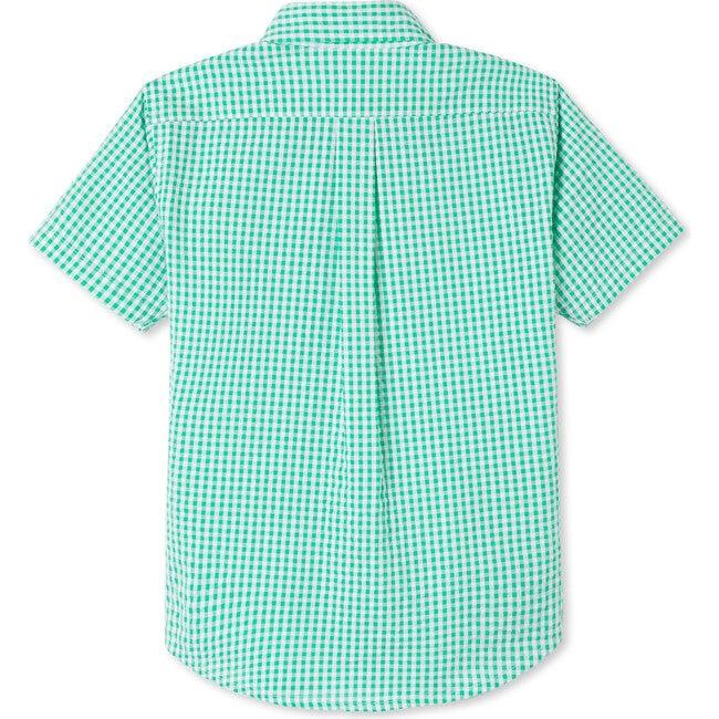 Owen Short Sleeve Button Down, Green Seersucker
