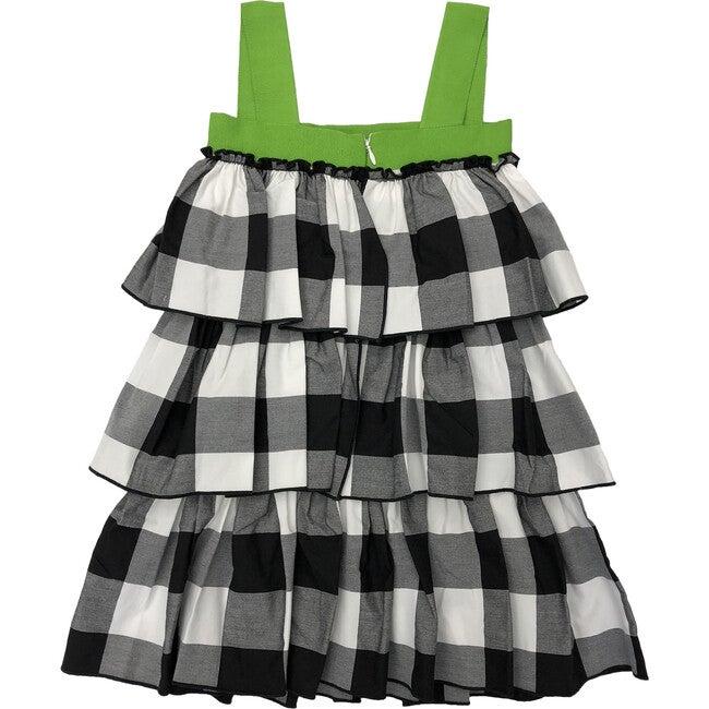 Gingham Ruffle Dress, Black & White