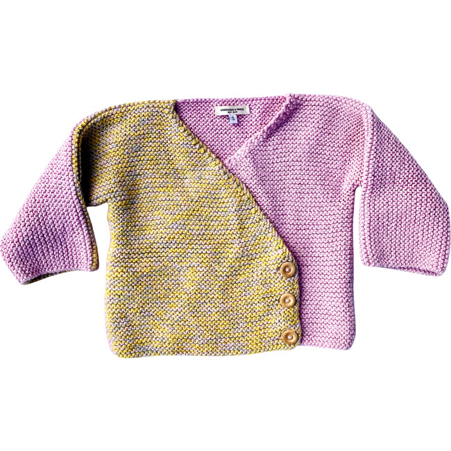 Asymmetrical Buttoned Cardigan, Pink & Yellow
